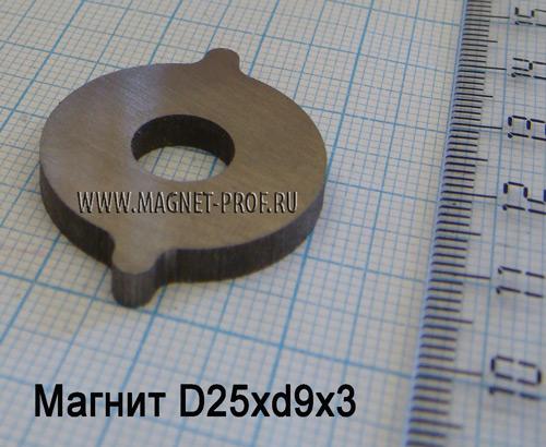 Магнит AlNiCo5 D25xd9x3мм.