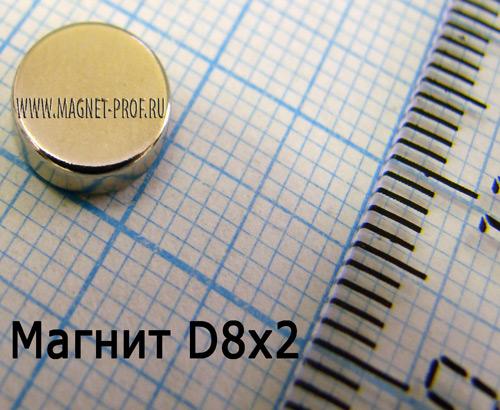 Неодимовый магнит D8x2 мм., N33