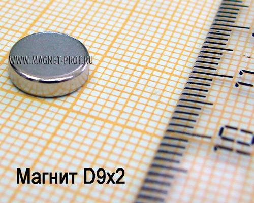 Неодимовый магнит D9x2 мм., N33