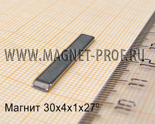 Неодимовый магнит 30x4x1x27 , N48