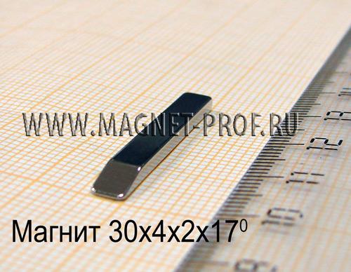 Неодимовый магнит 30x4x2x17 , N48