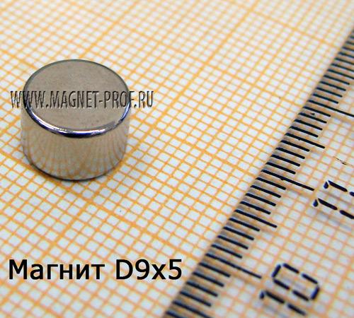 Неодимовый магнит диск D9x5 мм., N33