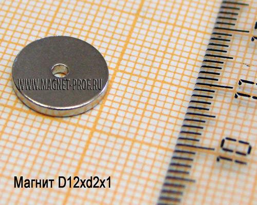 Неодимовый магнит D12xd2x1 мм., N33