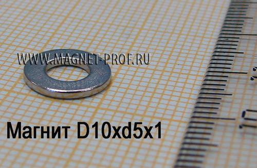 Неодимовый магнит D10xd5x1 мм., N33