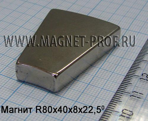 Магнит N33 R80xr40x8x22.5 (акс)