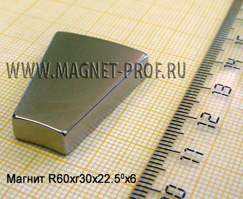 Магнит N42 R60xr30x22,5x6 (акс)