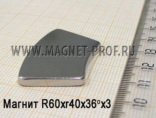 Магнит N52 R60xr40x36x3 (диа W)