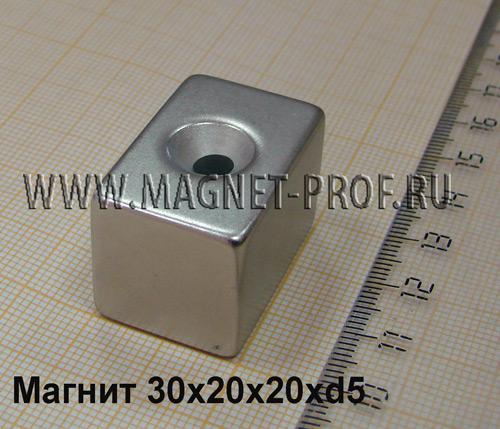 Магнит пластина с зенковкой 30x20x20 мм. , N52