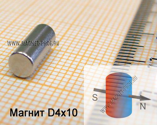 Неодимовый магнит диск D4x10 мм., N33 (диа)
