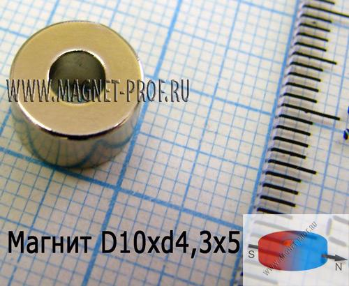Неодимовый магнит кольцо D10xd4,3x5 N52(диа)