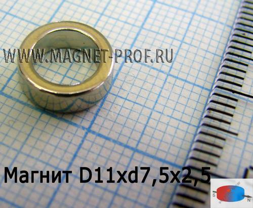 Неодимовый магнит кольцо D11xd7,5x2,5,N33(диа)