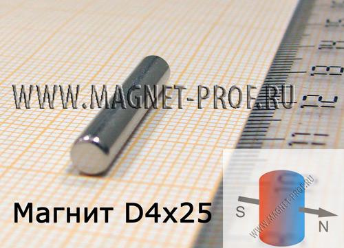 Неодимовый магнит диск D4x25 мм., N33 (диа)