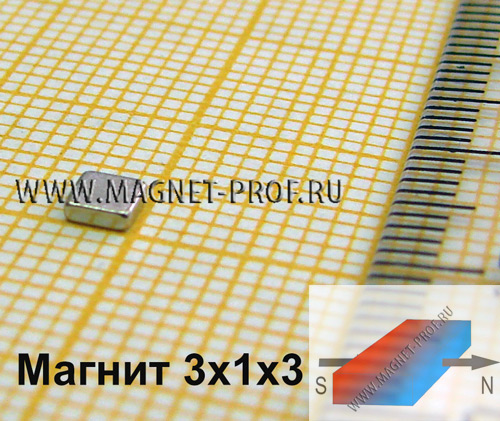 Неодимовый магнит 3x1x3 мм., N33