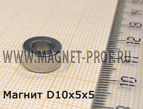 Неодимовый магнит кольцо D10xd5x5 мм., N33EH