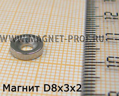 Неодимовый магнит кольцо D8xd3x2 , N33(зенк.)