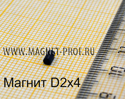 Ферритовый магнит Y30H-1 D2x4мм.
