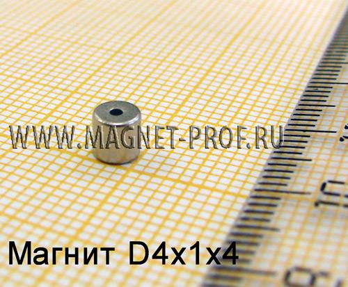 Неодимовый магнит D4xd1x4 мм., N33