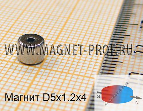 Неодимовый магнит кольцо D5xd1.2x4 мм (диа)