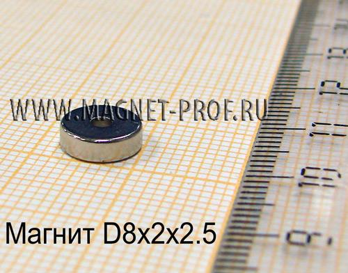 Неодимовый магнит D8xd2x2.5 мм., N33