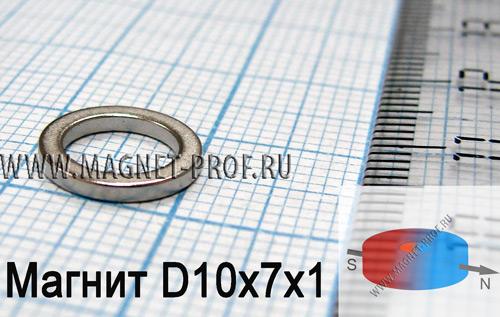 Неодимовый магнит кольцо D10xd7x1 мм. (диа)