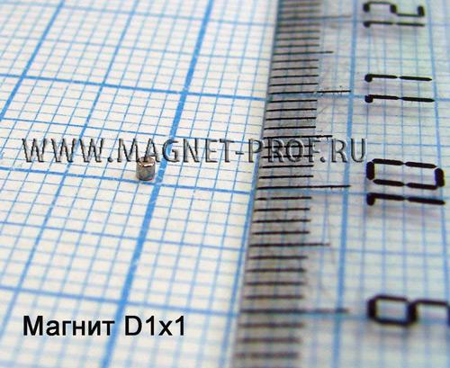 Неодимовый магнит диск D1x1 мм., N33