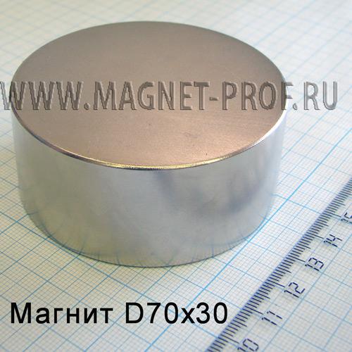 Неодимовый магнит D70х30 мм., N38