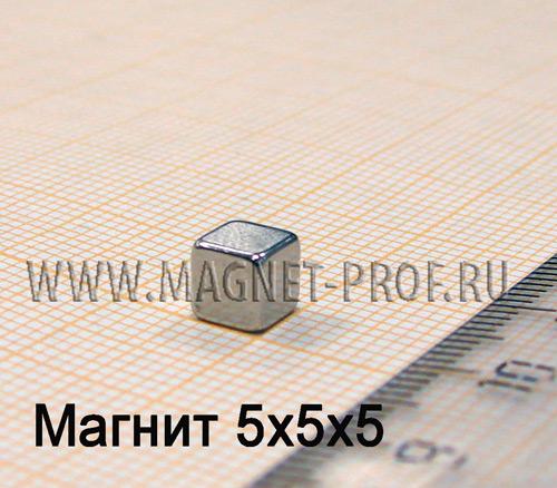 Неодимовый магнит куб 5x5x5 мм., N35EH