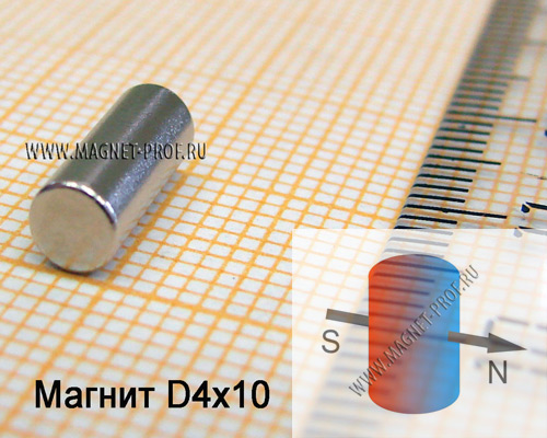 Неодимовый магнит диск D4x10 мм., N50H (диа)