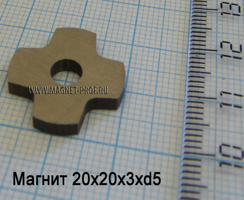 Магнит AlNiCo5 20xx20x3xd5мм.