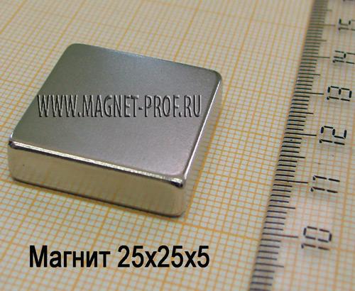 Неодимовый магнит пластина 25x25x5 мм., N35