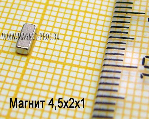 Неодимовый магнит пластина 4,5x2x1 мм., N33