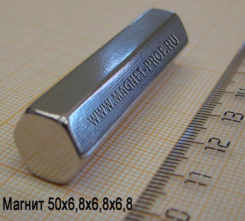 Магнит N33 50x6,8x6,8x6,8мм.