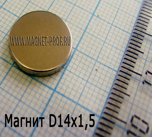 Неодимовый магнит диск 14х1,5 мм, N35