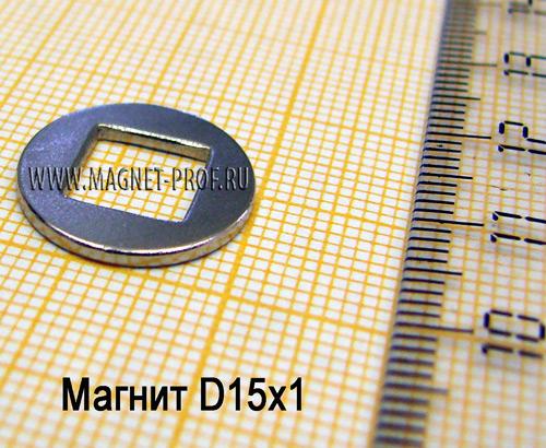 Неодимовый магнит N33 D15x1мм.