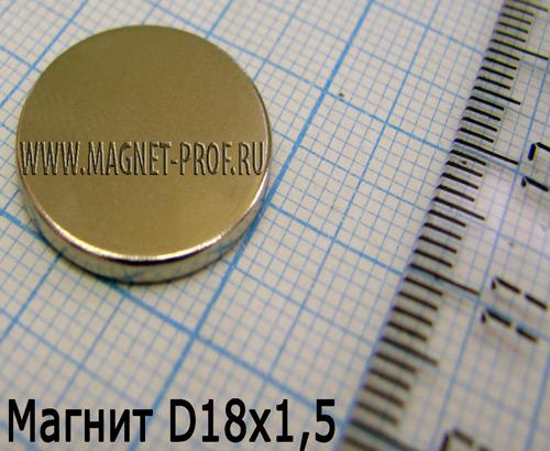 Неодимовый магнит диск 18х1,5 мм, N33