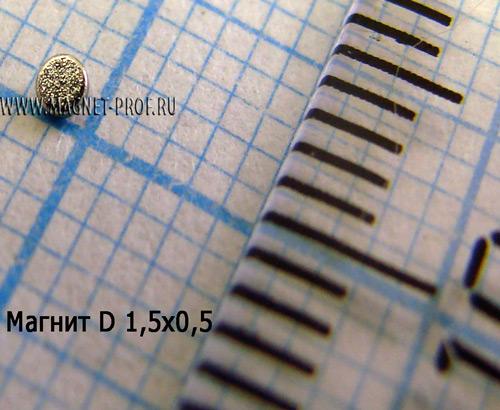 Неодимовый магнит диск D1.5x0.5 мм., N33