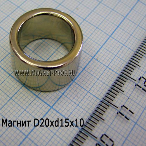 Неодимовый магнит D20xd15x10 мм., N35