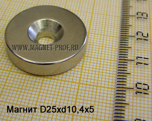 Неодимовый магнит D25xd10.4/5.5x5x90(зен)