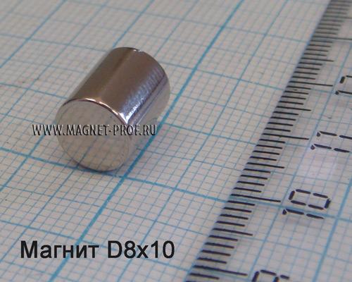 Неодимовый магнит диск D8x10 мм., N35