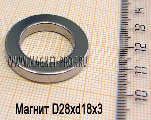 Неодимовый магнит D28xd18x3 мм., N35