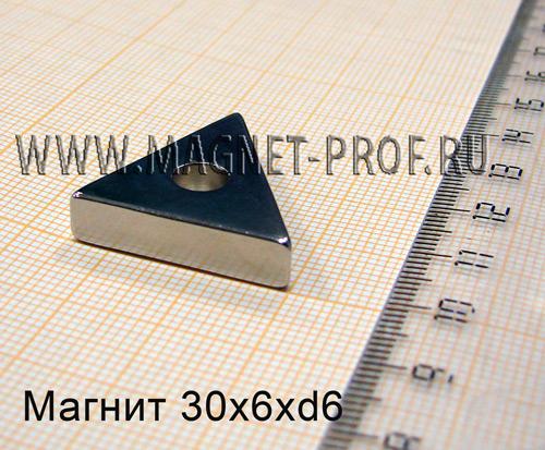 Неодимовый магнит 30x6xd6 , N48
