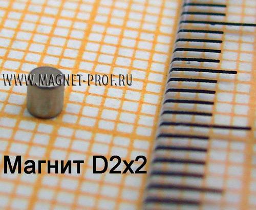 Неодимовый магнит диск D2x2 мм., N35