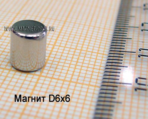 Неодимовый магнит диск D6x6 мм., N35
