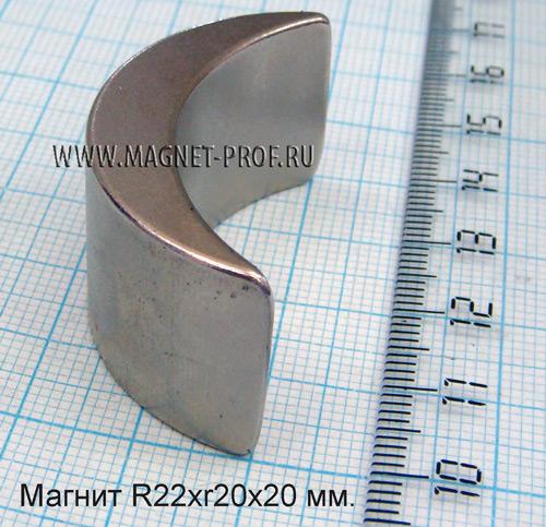 Магнит N33 R22хr20х20х40мм.