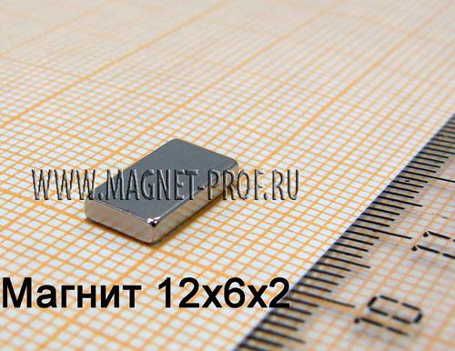 Неодимовый магнит пластина 12x6x2 мм., N33