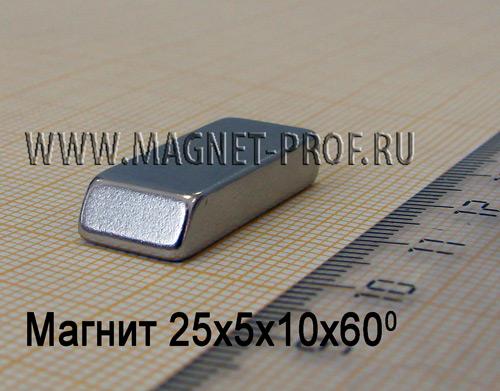 Магнит N33 25x5x10x60мм.