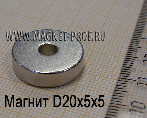 Неодимовый магнит D20xd5x5 мм., N35