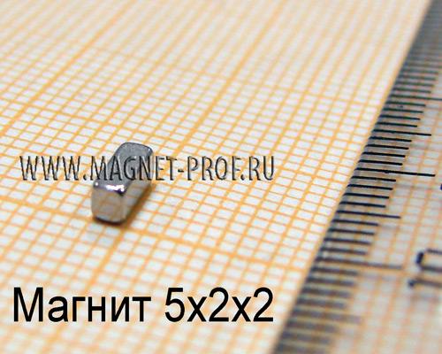 Неодимовый магнит пластина 5x2x2 мм., N33