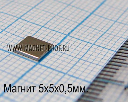 Неодимовый магнит пластина 5x5x0,5 мм., N33