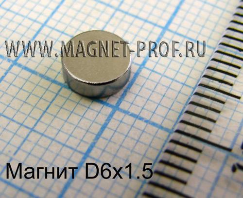 Неодимовый магнит диск D6x1,5 мм., N35